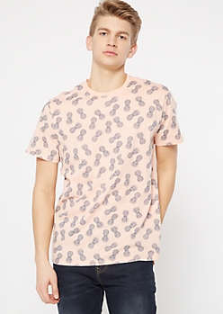 Peach Pineapple Print Crew Neck Tee