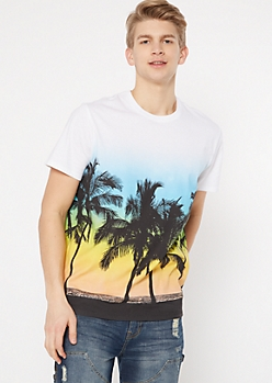 White Palm Tree Crew Neck Tee