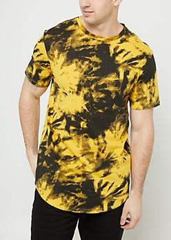 Yellow Tie Dye Round Hem Tee