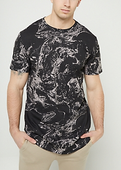 Black Marble Print Long Length Tee