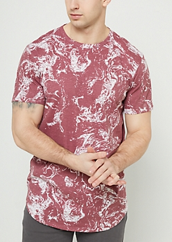 Burgundy Marble Print Long Length Tee