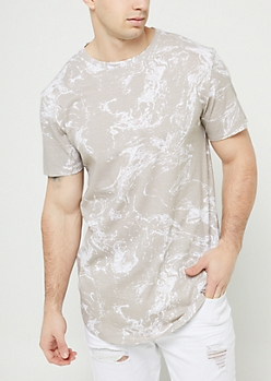 Tan Marble Pattern Long Length Tee