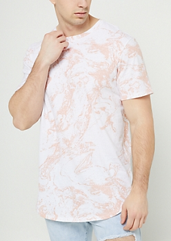 White Marble Pattern Long Length Tee