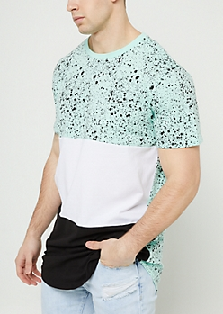 Mint Splattered Colorblock Extreme Length Tee