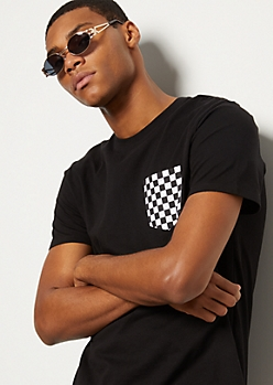 Black Checkered Print Pocket Short Sleeve Tee