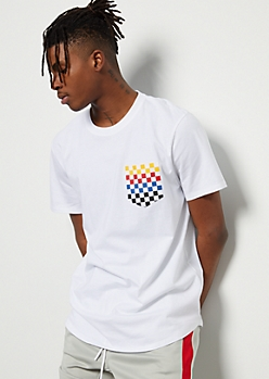 White Multi Checkered Print Short Sleeve Pocket Tee