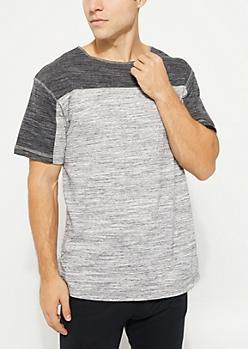 Charcoal Gray Spacedye Contrast Mesh Tee