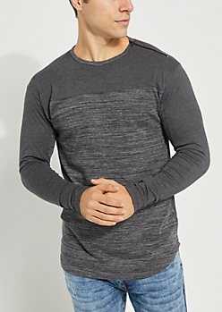 Charcoal Gray Space Dye Zip Shoulder Tee