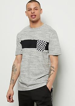 Gray Colorblock Checkered Print Pocket Tee