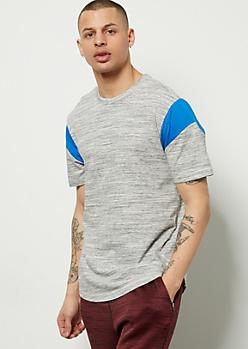Gray Space Dye Varsity Striped Football Tee