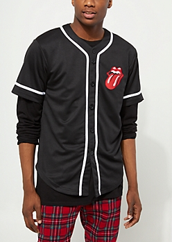 Black Rolling Stones Baseball Jersey