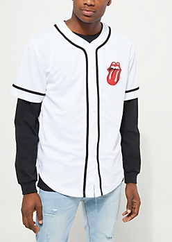 White Rolling Stones Baseball Jersey