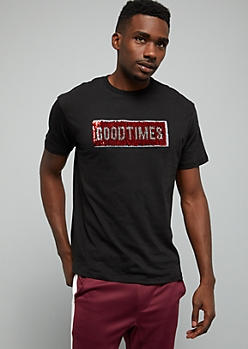 Black Good Times Sequin Patch Graphic Tee