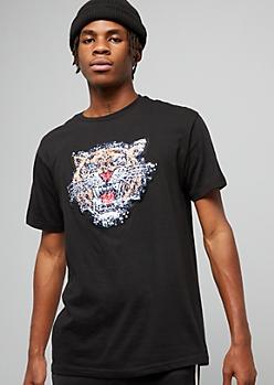 Black Sequin Tiger Crew Neck Tee