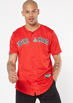 Red Mesh Boyz N The Hood Graphic Jersey Tee