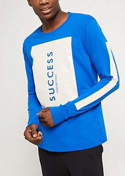 Royal Blue Pearlescent Success Long Sleeve Tee