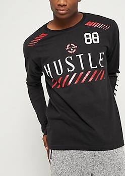 Black Metallic Hustle Jersey Long Sleeve Tee