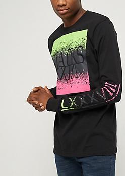 Black Stacks & Neon Splatters Long Sleeve Tee