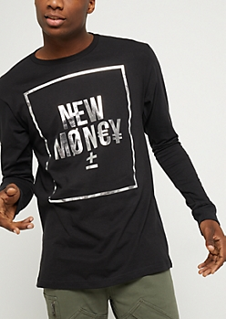 Black Metallic New Money Long Sleeve Tee
