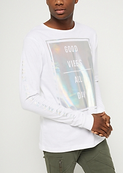 White Iridescent Good Vibes Long Sleeve Tee