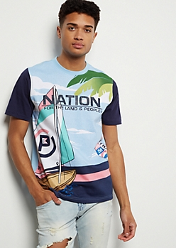 Parish Nation Blue Aloha Graphic Tee