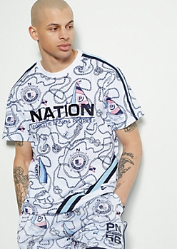 Parish Nation White Embroidered Nautical Print Tee