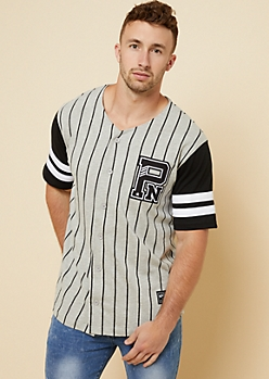 Parish Nation Gray Vertical Stripe Baseball Jersey