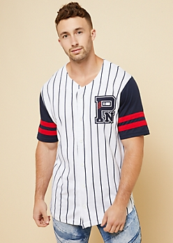 Parish Nation White Vertical Stripe Baseball Jersey