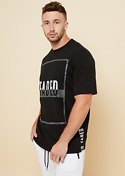 Black Faded Sides Crew Neck Tee
