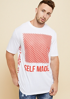 White Self Made Sides Crew Neck Tee