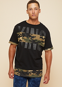 Black Camo Print King Double Layer Tee