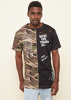 Camo Colorblock Save the Youth Long Tee