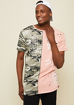 Peach Camo Colorblock Save the Youth Long Tee