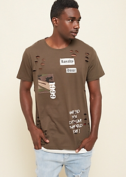 Olive Save The World Contrast Long Tee