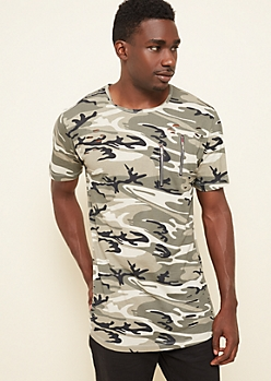Gray Camo Ripped Zipper Long Tee