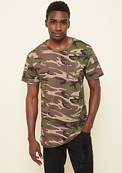 Camo Ripped Zipper Long Tee