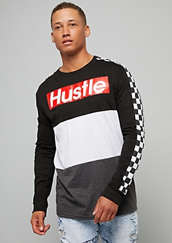 Black Hustle Colorblock Checkered Print Striped Graphic Tee