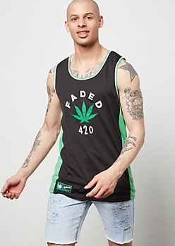 Green Weed Print Faded Graphic Tank Top