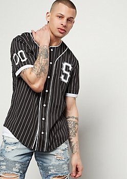 Black Striped Savage 00 Button Down Jersey