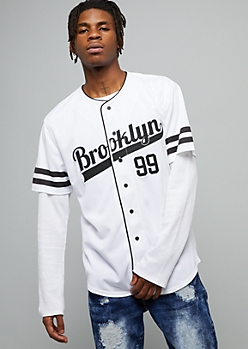 White Brooklyn 99 Varsity Striped Baseball Jersey