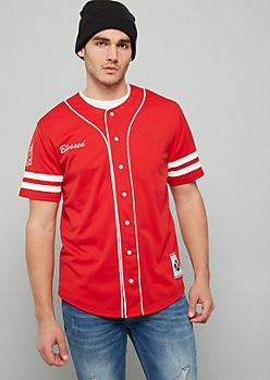 Red Blessed Varsity Striped Baseball Jersey