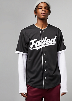 Black Faded 420 Graphic Baseball Jersey