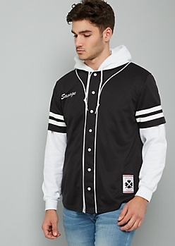 Black Varsity Striped Savage Baseball Jersey