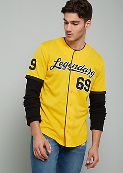 Yellow Legendary 69 Baseball Jersey