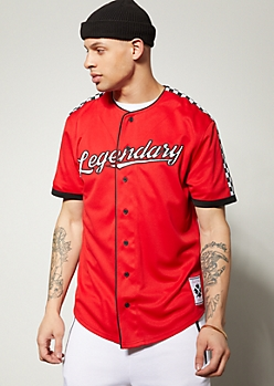Red Legendary Checkered Print Baseball Jersey