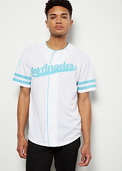 White Los Angeles Varsity Striped Graphic Jersey
