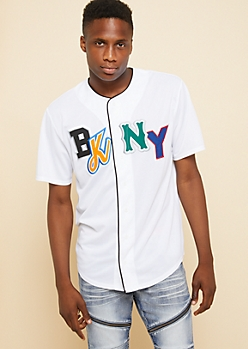 White Mixed BK NY Patch Button Down Jersey