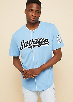 Light Blue Savage Script Button Down Jersey