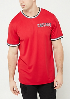 Red Chicago Mesh Tee