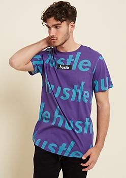 Purple Repeated Hustle Print Box Tee